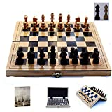 UNU_YAN Conjuntos de ajedrez de la Simplicidad Moderna Tamaño Ajedrez de Madera Plegable con Tablero de ajedrez magnético Libro de enseñanza Piezas de ajedrez para niños y Adultos