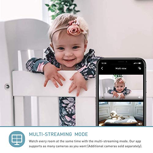 Monitor para bebés Lollipop con detección de llanto real (turquesa) - Cámara inteligente para bebés con WiFi - Cámara con video y audio HD - Seguimiento del sueño