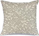 BONRI Fundas de almohada decorativas de poliéster, diseño retro, victoriano, con diseño de hojas, romántico, diseño botánico, textura ornamental, diseño antiguo, funda de almohada (45 x 45 cm)
