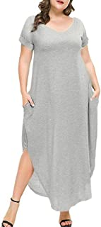 Aniywn Women Long Dress Short Sleeve Side Split Maxi Dresses Summer Casual Plus Size Pocket Dress