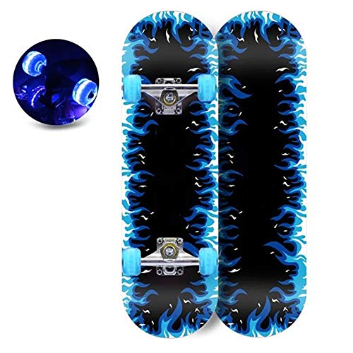 XLY Skateboard Completo para Niños, 28 Pulgadas Monopatin Skateboard con 7 Capas Madera de Arce y Ruedas Brillantes para Niñas Niños Principiantes,Blue Fire