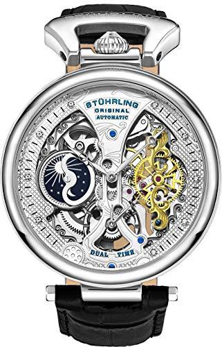 Stührling Original Reloj Esqueleto para Hombre Reloj Automático con Banda de Piel de becerro y Doble Tiempo  AM/PM Sun Moon