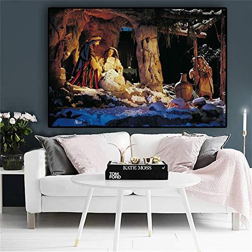 De geboorte van Jezus Scandinavische kerst Religieuze posters en prints Olieverf op doek Woonkamer Muurschilderingen Fotolijst Frameloos schilderen 30x45cm