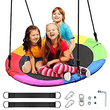 Saucer Tree Swing for Kids Outdoor,40 Inch Diameter 660lb Weight Capacity,Easy Installation and Waterproof Outdoor Swing Set for Kids Playground Backyard and Playroom.