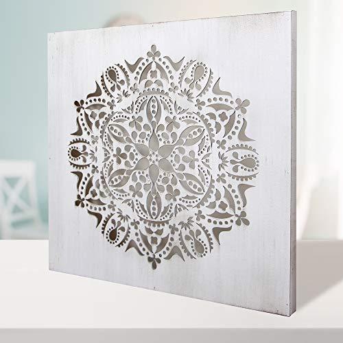 Cuadro Mandala de Pared Calada, Fabricada artesanalmente en España- Mandala 3D Cuadrada Pintada a Mano- Modelo Mosaico 122 (Blanco Envejecido, 50x50cm)