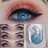 HOWWO 2pcs / Lentes de Contacto Par Nueva York cosmético Azul Lentes de Colores for Ojos Contactos Lentes de Contacto Color de la Lente Natural pupila, sin dioptrías (Color : New York Blue)