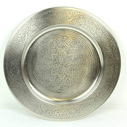 Casa Moro Bandeja para servir marroquí Hoyam, diámetro de 50 cm, redonda de metal en plata, bandeja de té oriental, artesanía de...