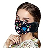 Happy New Year Winter Face_mask with Earmuffs, 2021 Warm Happy New Year Print Reusable Washable Dustproof Face Protection Face_Cover for Adult Women Men Party