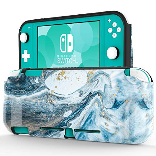 """ZADORN Protective Case for Nintendo Switch Lite 2019,Perfect Grip TPU Cover with Fashionable Designs,Shockproof Game Carrying Travel Case for Nintendo Switch Lite 5.5"""" Opal Marble Blue"""