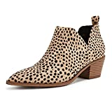 Women's Ankle Booties Straps V Cut Stacked Block Heel Pointed Toe Faux Leather Boots