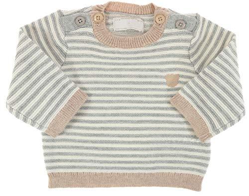 Mayoral Jungen Baby Langarm-Strick-Pullover Bärchen grau-beige gestreift, Gr. 62 (62)