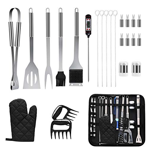 SEATANK Barbecue Grilling Accessories 25 PCS with Thermometer Complete BBQ Tool Sets Stainless Steel with Carrying Bag Indoor Outdoor Cooking and Camping Grilling for Birthday Gifts for Men and Women