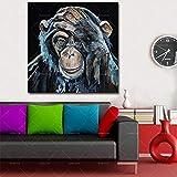 KWzEQ Imprimir en Lienzo Pensamiento Gorila póster e imágenes Decorativas para la decoración del hogar de la Sala de estar80x80cmPintura sin Marco