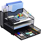 Desk Organzier Mesh Office Supplies Organization with Drawer File Accessories Storage Workspace with 4 Compartments for Women Home Desktop Paper Pen Shelf(12.8 x 12.4 x 9 Inch, Black)