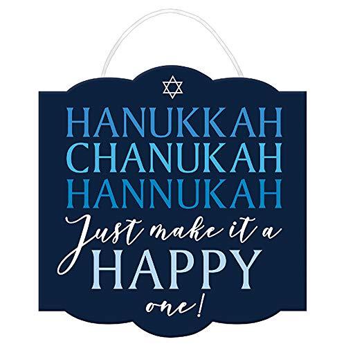 J&J's ToyScape Happy Hanukkah Sign with Ribbon Hanger (Size: 12' x 11.7') | Decorative Chanukkah Door Sign, Hanging Decoration & Hanukkah Party Supply