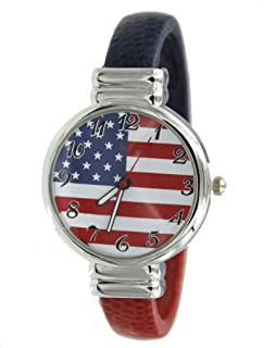 Ladies USA Flag Printed Bangle Watch