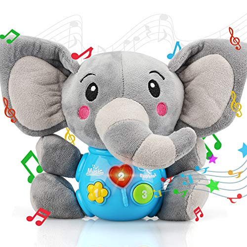 STEAM Life Plush Elephant Baby Toys - Newborn Baby Musical Toys for Baby 0 to 36 Months - Stuffed Animal Light Up Baby Toys for Infants Babies Boys & Girls Toddlers 0 3 6 9 12 Month