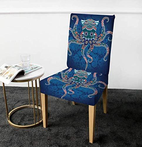 VYEKL Octopus Stuhlabdeckung Mandala Abdeckung Für Stuhl Abnehmbare Spandex Schonbezug Tiersitz Fall Sofa Werfen 4 Stücke