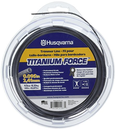 Husqvarna Titanium Force String Trimmer Lines, 0.095' By 1/2', Orange/Gray