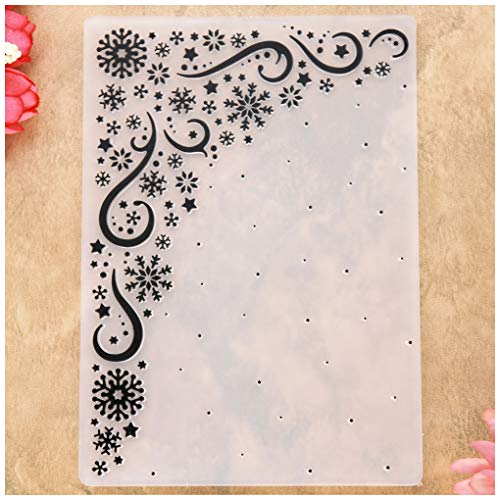 KWELLAM Merry Christmas Snowflake Corner Star Snowfall Plastic Embossing Folders for Card Making Scrapbooking and Other Paper Crafts