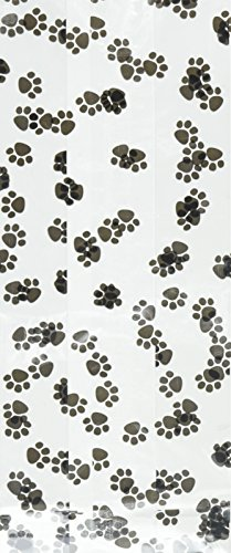 20 -  4 Inch X 2 Inch X 9 Inch Animal Paw Print Cello Bag Birthday Shower Goodie Treat