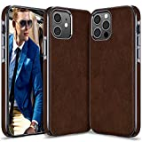 LOHASIC for iPhone 12 Pro Case Men, for iPhone 12 Phone Cover Women, PU Leather Elegant Classy Business Protective Shockproof Non-Slip Anti-Scratch Soft One Piece Bumper 12Pro 6.1 Inch Dark Brown