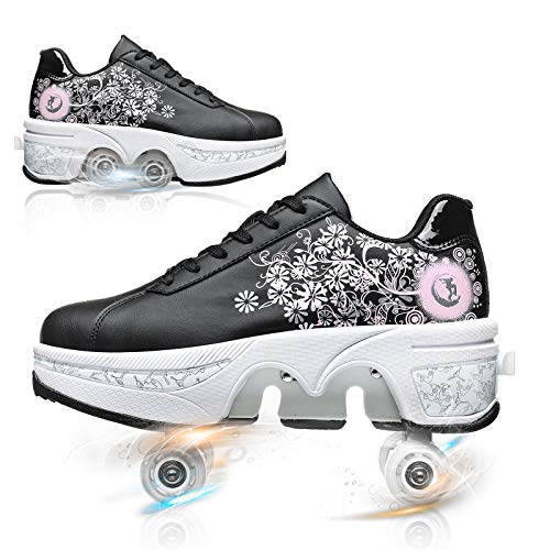 Zapatos con Ruedas para Niños Y Niña Zapatos Multiusos 2 En 1 Patines Zapatillas Deportes Al Aire Libre De Deporte Patines En Línea Niños/niñas