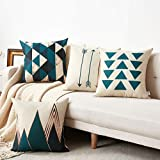 WLNUI COMIN18JU072165 Set of 4 Pillow Covers,18x18 Pillow Cover Green Modern Simple Geometric Style Soft Linen Burlap Square Throw Pillow Covers, Beige, Standard Size