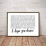 I Hope You Dance Letras Cartel Lienzo Pintura Imagen de la pared, Letras de canciones en blanco y negro Arte Impresiones en lienzo Habitación infantil Decoración de arte 60x90cm sin marco