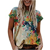 2021 Nuevo Camiseta de Mujer, Verano Moda Impresión Manga Corta Elegante Blusa Camisa Cuello Redondo Camiseta Casual Suelto Tops Fiesta T-Shirt Original tee Ropa de Mujer