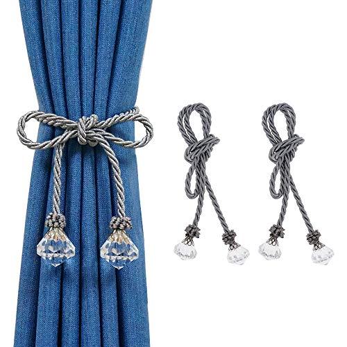 HIASTRA Curtain Tiebacks for Drapes, 2pcs Silver Curtain Tie Back, Decorative Rope Tieback, Handmade Curtain Holders Holdbacks with Crystal for Window Sheer Drapes Home Office