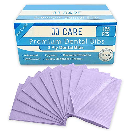 JJ Care Premium Dental Bibs, Disposable 3 Ply Dental Patient Bib, Waterproof Tattoo Piercing bibs, Adult Bibs, Dental Bib,Tray Cover, Waterproof Napkins Dental Napkin (13'' x 18'') Purple, Pack of 125