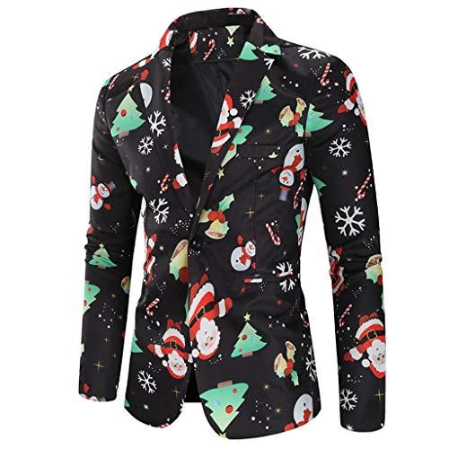 Baohooya Chaqueta de Traje Hombre de Vestir - Estampado de Navidad Casual Trajes de Chaqueta Esmoquin Abrigo Traje...