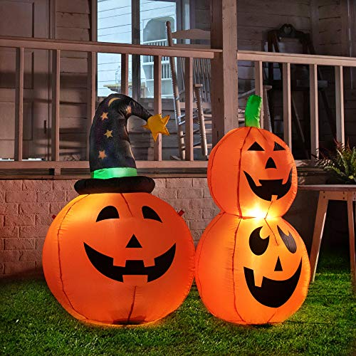 Halloween Inflatable Set of Pumpkin and Overlapping Pumpkins 3.5FT with Built-in LED Lights Indoor Outdoor Decorations