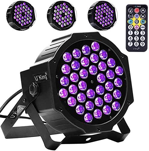 UV Schwarzlicht, NIPEECO 72W 36 LEDs UV Par Lights DMX mit Fernbedienung Bühnenlicht für Party, Bar, Bühne, Weihnachten, Halloween, Hochzeit