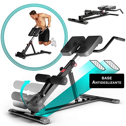 Sportstech BRT150 Entrenador de espalda y abdomen 6en1; ergonómico y ajustable; sistema único de bloqueo y fácil de plegar, diseño antideslizante, banco de pesas + fijación de pierna adaptable (Negro)