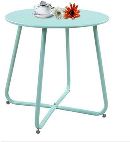 NAN Table Basse européenne rétro Mini Table d'appoint Ronde en Bois Massif Fer forgé Meubles Chambre Salon d'étude, H45cm (Couleur   vert)