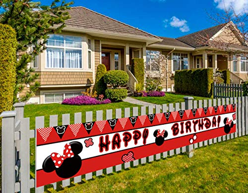 Large Minne Mouse Happy Birthday Banner, Minne Mouse Clubhouse Birthday Party Banner Supplies Decorations (9.8 x 1.5 feet)