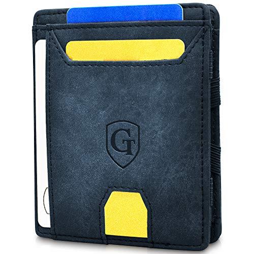 GenTo® Magic Wallet Atlantic - TÜV geprüfter RFID, NFC Schutz - Dünne magische Geldbörse mit großem Münzfach - Geschenk für Damen und Herren - erhältlich in 5 Farben (Marineblau - Soft)
