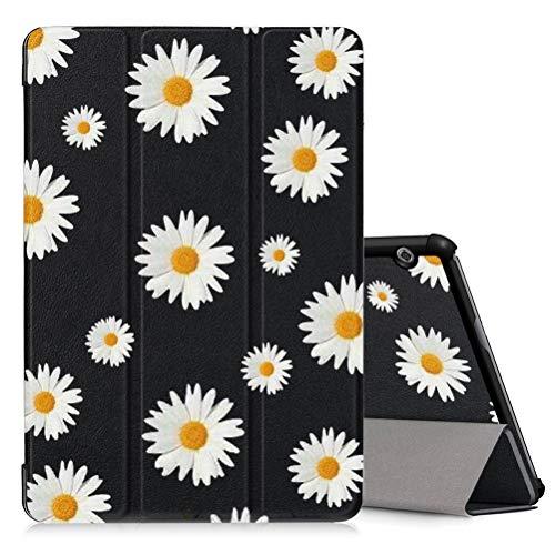 Pnakqil Hülle für Huawei MediaPad T5 10 (10.1 Zoll), PU Leder Trifold Stand Schutzhülle Ultra Dünn Smart Abdeckung mit Auto Aufwachen/Schlaf Tablet Cover, Gänseblümchen