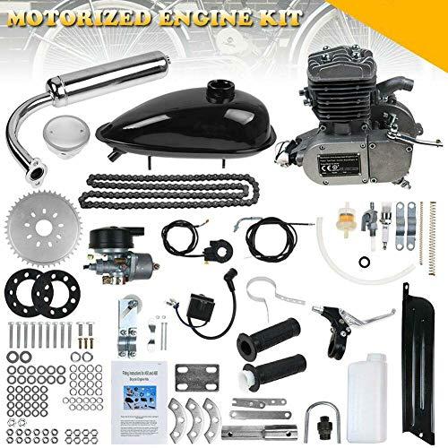 Kit Motore Bici 80CC, Kit di conversione a 2 Tempi per Bici di aggiornamento motorizzata, Kit Motore Bici Motore a Benzina Fai-da-Te per Ruote da 24, 26 e 28
