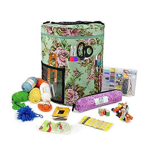 Bolsa de Lana para Tejer Ovillos Organizador Ganchillo Y Punto para Crochet Labores de Punto Knitting Bag DIY Bolsa de Tejer Portátil para Ganchos de Ganchillo Tote Organizador 27.5 X 32.5cm