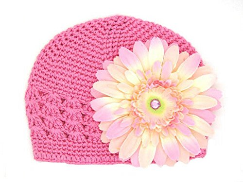 Jamie Rae Hats – Candy Pink Crochet Hat with Pale Pink Daisy, Size: 0-3M