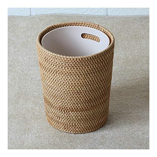 Zaza Bins Vietnam Rattan, Storage Bin Trash Can, Durable Storage Basket Cylindrical Table, Surface Storage Waste Paper Bucket Handmade Decorative Urns (Size : S-has an inner barrel)