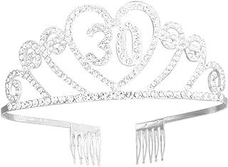 Beaupretty Corona per Compleanno 30 Anni Cerchietto Diadema Principessa Donna Tiara Strass Cristallo con Pettine