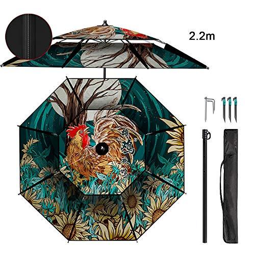 OWUV 2.2M Sombrilla para Pesca Grande Paraguas Exterior, Prueba De Viento, Prueba De Lluvia, Protección UV, Giratoria 360 °, para Balcón/Jardín/Terraza/Patio/Playa/Parque Infantil/Mercado