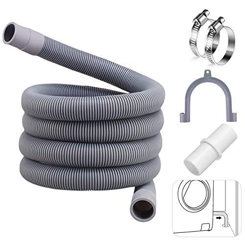 1.5M Tubo di scarico,kit di prolunga tubo di scarico,Prolunga Tubo di Scarico,Tubo di scarico per lavatrice e lavastoviglie,tubo dell'acqua di scarico,Tubo di Scarico in PVC