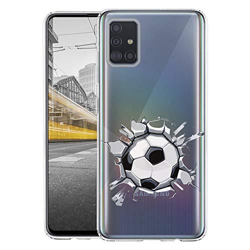 KX-Mobile Hülle für Samsung A51 Handyhülle Motiv 2488 Fussball Premium Silikonhülle durchsichtig mit Bild SchutzHülle Softcase HandyCover Handyhülle für Samsung Galaxy A51 Hülle