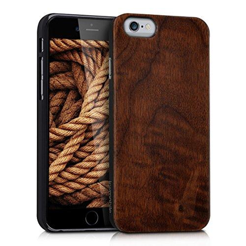 kwmobile Funda Compatible con Apple iPhone 6 / 6S - Carcasa Posterior de Madera - Case Protector Duro marrón Oscuro