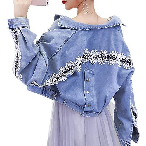 Ajouyonp Womens Button Down Jeans Bat Sleeve Embroidery Loose Crip Jacket Fashion L Denim Blue